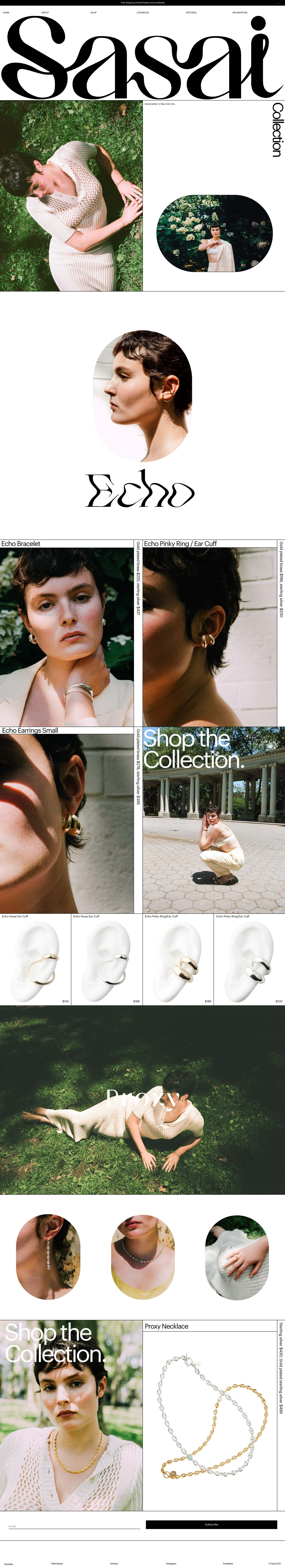 Sasai Jewelry Website - Full Screenshot